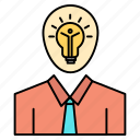 growth, idea, light, man, success icon