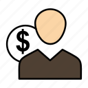 client, costs, employee, finance, money, person, user icon