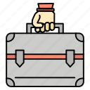 bag, briefcase, case, money icon