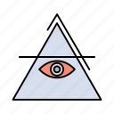 eye, illuminati, pyramid, triangle icon