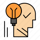 brain, creative, idea, lightbulb, mind, personal, power, success icon
