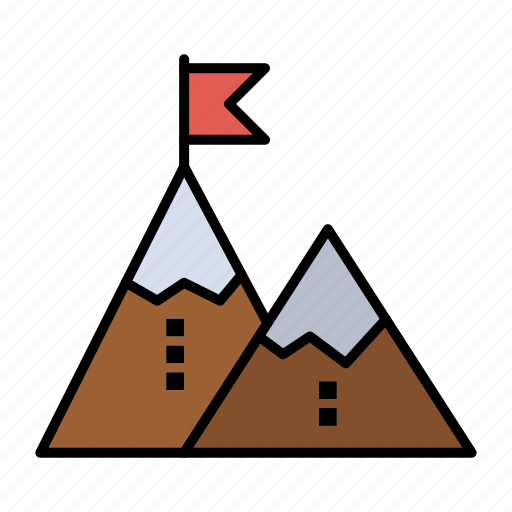 Achievement, flag, goal, mission, mountain, peak, success icon - Download on Iconfinder