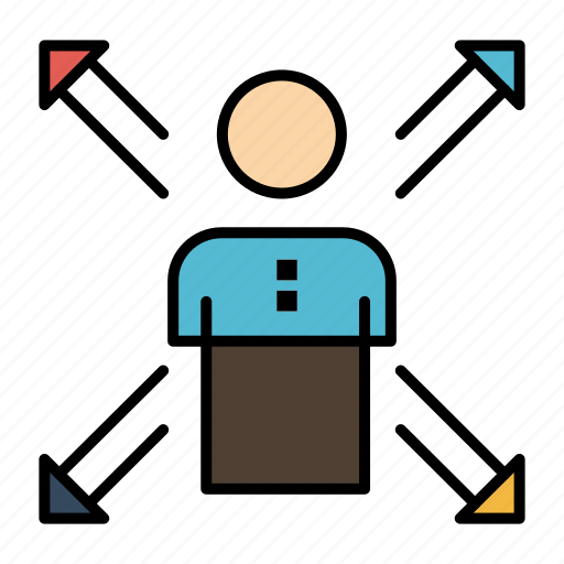 Arrows, career, direction, employee, human, person, ways icon - Download on Iconfinder