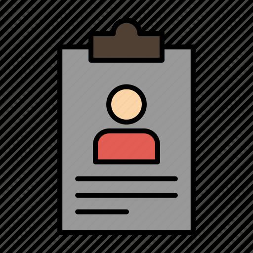 application, clipboard, curriculum, cv, resume icon