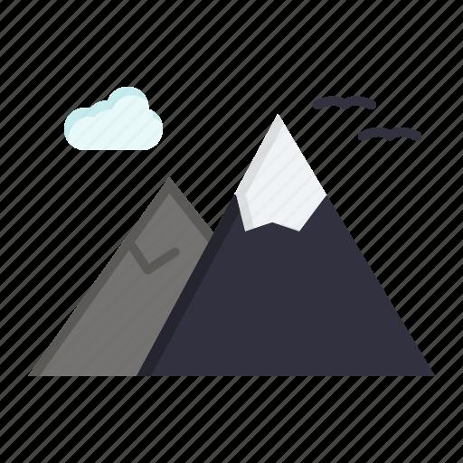 mountains, nature, scenery, travel icon