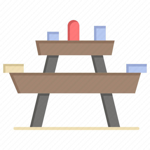 bench, food, park, picnic, seat icon