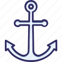 anchor, boat anchor, direction, marine icon