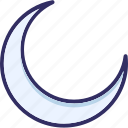 crescent, half moon, moon, moon phase icon