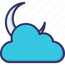 cloud, cloudy, cloudy night, moon icon
