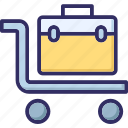 baggage, hand truck, luggage, luggage on cart icon