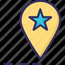 favourite location, gps, location pin, location pointer icon