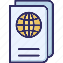 guide book, passport, travel book, travel pass icon