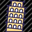 building, italy, pisa tower, travel icon
