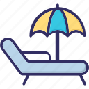 beach, parasol, summer, sunbathe icon