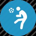athlete, ball round, footballer, striking football icon