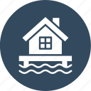 beach house, cottage on beach, hut, resort icon