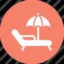 beach, parasol, summer, sunbathe icon