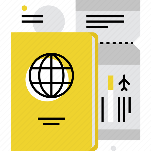 airflight, boarding, documents, flight, passport, ticket, travel icon