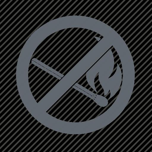 dangers, fire, nomatches, prohibition icon