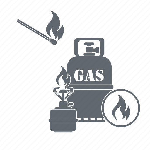 Gas bottle, tourism, gas stove, camping icon