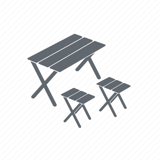 camping, chair, table icon