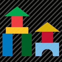 blocks, bricks, building, construction, kids, toy, wooden icon