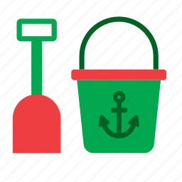 beach, bucket, game, kids, sand, shovel, toy icon
