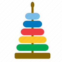 baby, rainbow, ring, stacking stack up nest, tower, toy, wooden icon