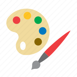 brush, kids, paint, painting, palette, toy icon