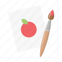 apple, brush, children, drawing, game, paint, toy