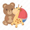 children, ball, entertainment, game, bear, toy, giraffe