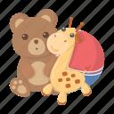 ball, bear, children, entertainment, game, giraffe, toy