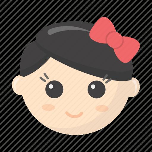 bow, children, doll, entertainment, game, head, toy icon