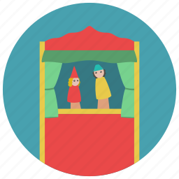 curtain, games, puppet, show, toys icon