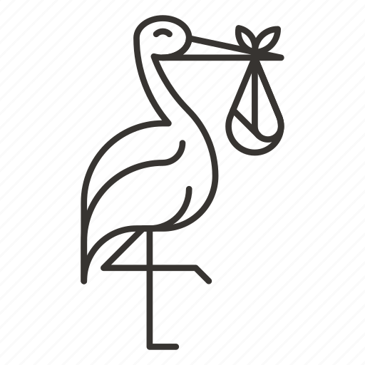 baby, bird, child, fowl, nature, stork, surprise icon