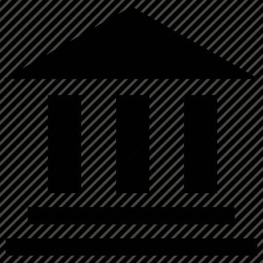 bank, bank building, building columns, building exterior, building silhouette icon