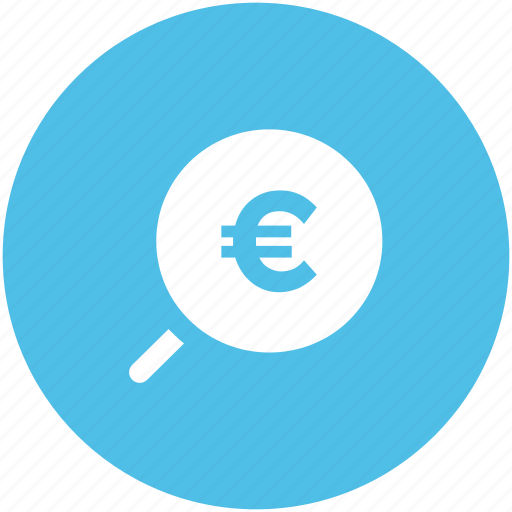 euro search, glass, magnifier, magnifying glass, zoom icon
