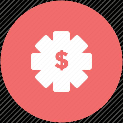 cog, cog wheel, currency settings, dollar, gear, usd, wheel icon