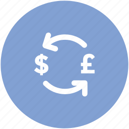 banking, currency exchange, currency rates, dollar, dollar exchange, exchange, pound exchange icon