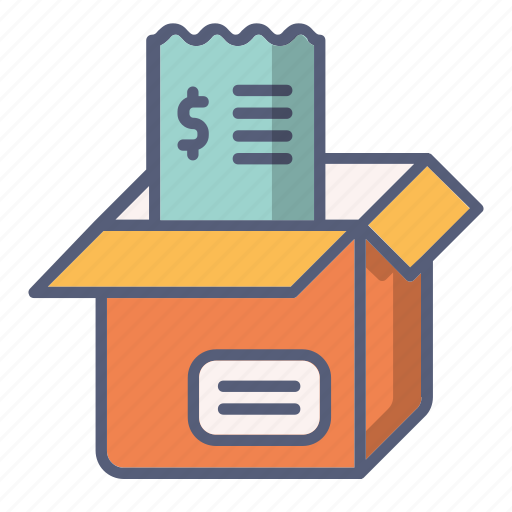 bill, box, check, money, package, payment icon