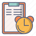 bill, clock, document, in time, payment, time icon