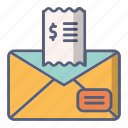 bill, letter, mail, messege, tip icon