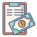 bill, cash, ment, money, paid, tip icon