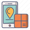 location, online, package, place, track icon