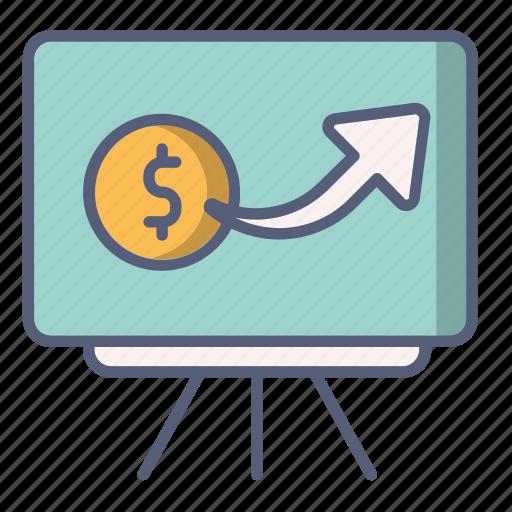 dollar, growth, money, price, stand icon