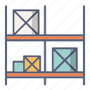 box, package, shelves, shop, stock icon
