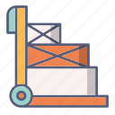 baggage, box, cart, delivery, truck icon
