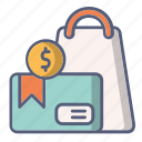 bag, cash, credit card, payment, sale, shoping icon