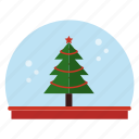 christmas tree, globe, snow icon