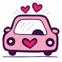 love, travel, auto, automobile, wedding, transport, car icon